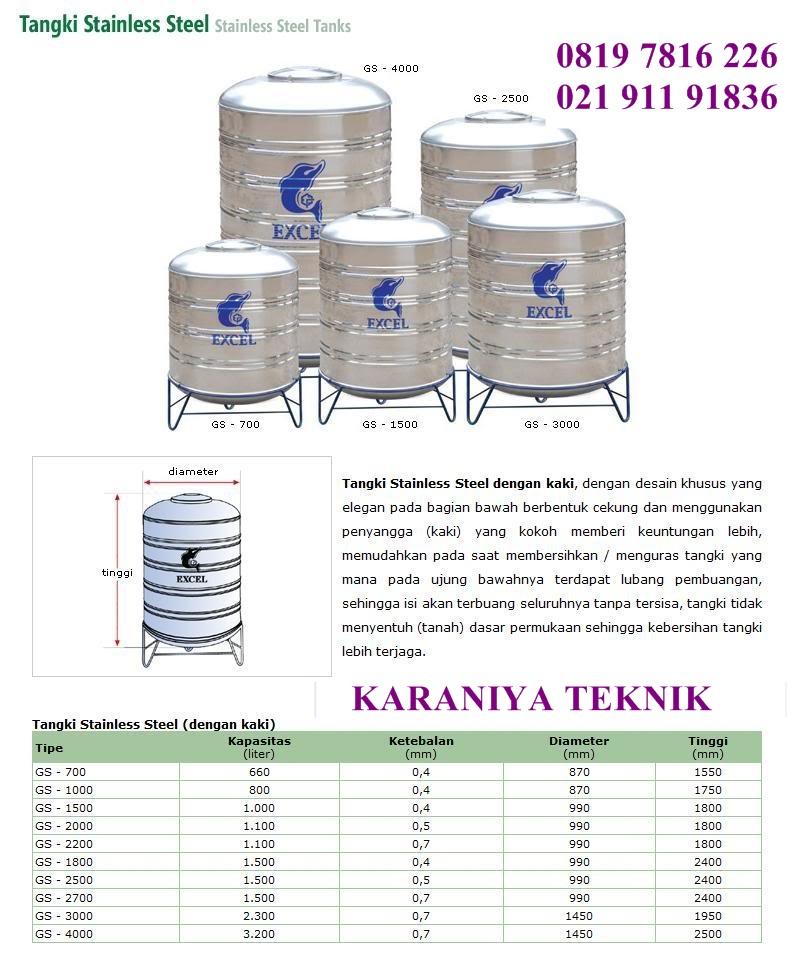 Spec Toren Air Stainless Excel Pakai Kaki
