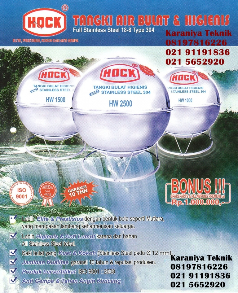 Tangki Air Stainless Bulat HOCK
